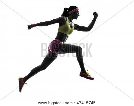 one caucasian woman runner running jumping  in silhouette on white background poster