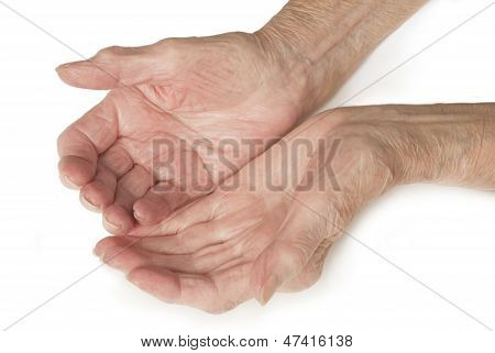 Senior Old Lady's Hands Open