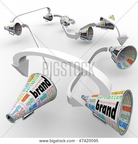 Several bullhorns or megaphones with the word Brand to spread the word and build buzz for your company's reputation or business