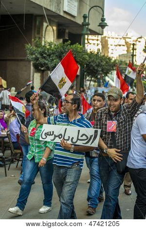 Egyptian People Protesting Against Morsy