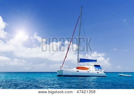 Sea Yacht In Azure Water.