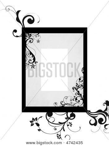 Black Grey Floral Frame