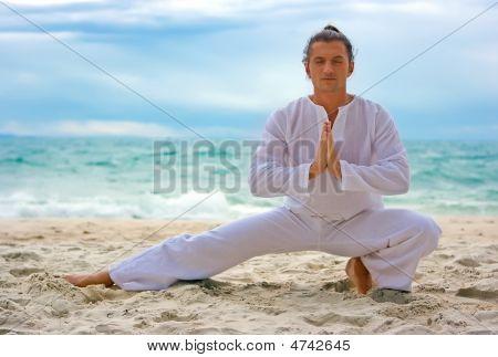 Wushu Man On The Beach
