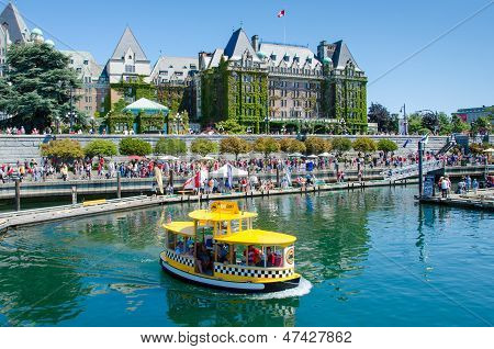 Water taxis provide transportation in the Inner Harbour of Victoria British Columbia