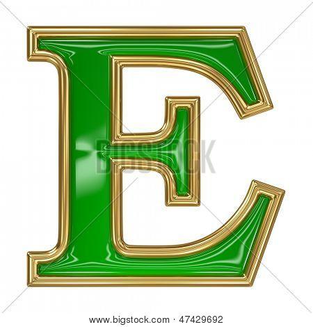 Emerald green with golden outline alphabet letter symbol -