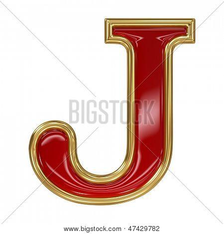 Ruby red with golden outline alphabet letter symbol - J