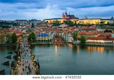 Prague Castle, Charles Bridge And Vltava, Prague, Capital Of Czech Republic