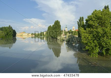 View Of Flooded Gyor Town At Sunset