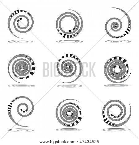 Spiral movement. Design elements set. Vector art.