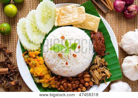 Nasi lemak traditional malaysian spicy rice dish