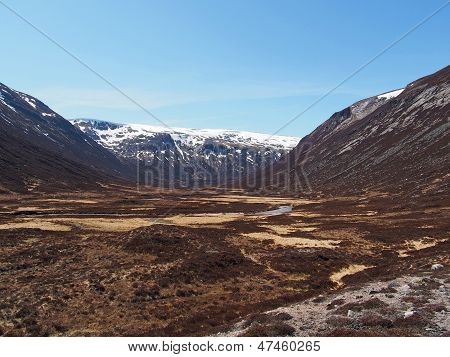 Glen Geusachan, Cairngorms Mountain, Scotland In Spring