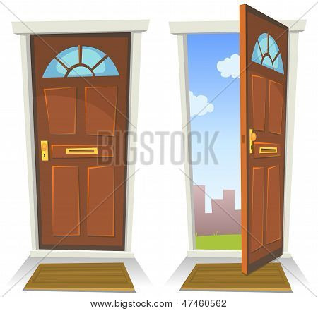 Cartoon Red Door, Open And Closed