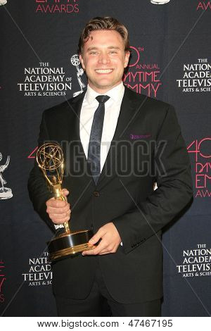 BEVERLY HILLS - JUN 16: Billy Miller with the Outstanding Supporting Actor in a Drama Series award at the 40th Annual Daytime Emmy Awards on June 16, 2013 in Beverly Hills, California