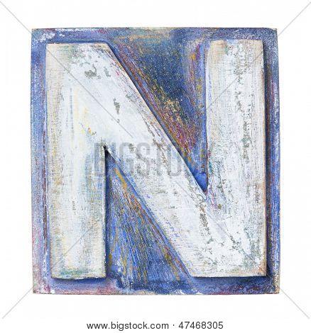Wooden alphabet block, letter N
