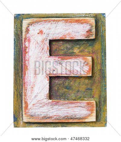 Wooden alphabet block, letter E