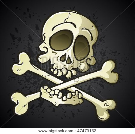 A jolly roger skull and crossbones cartoon character symbol biting his bones, a stylized take on a classic symbol poster