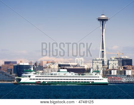Seattle Space Needle And Ferry