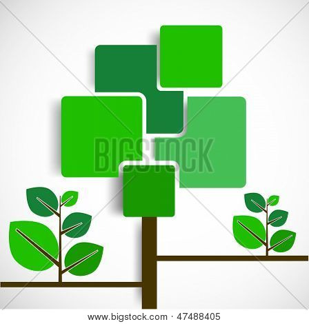 Abstract green tree with space for your text on grey background for Nautre.