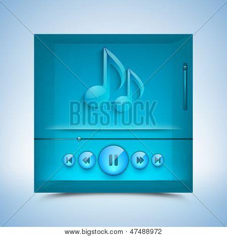 Media Player on blue background.