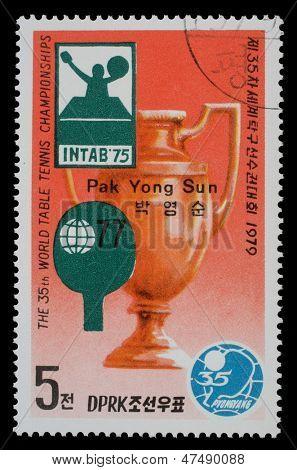 NORTH KOREA - CIRCA 1979: a stamp printed by North Korea shows World table tenis championship in Pyongyang, circa 1979