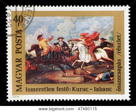 HUNGARY - CIRCA 1976: A stamp printed in Hungary issued for the 300th Birth Anniversary of Prince Ferenc Rakoczi II shows the clash between Rakoczi's Kuruts and Hapsburg Soldiers, circa 1976