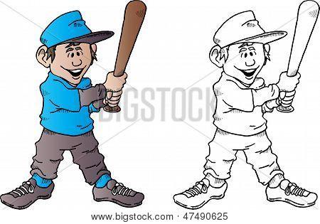 Baseball Kid With Bat