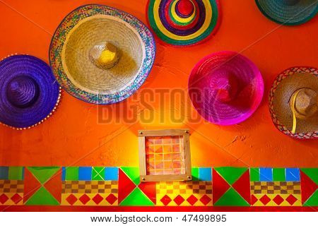 Mexican sombreros on the wall