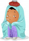 Illustration of a Sick Little Kid Boy Wrapped in Blanket with Thermometer on Mouth and Ice Bag on Head poster