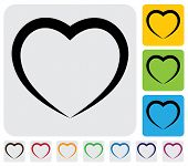 abstract human heart(love) icon(symbol)- simple vector graphic. This illustration has the heart icon on grey green orange and blue backgrounds & useful for websites documents printing etc poster