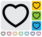 human heart(love) icon(symbol) outline- simple vector graphic. This illustration has the heart icon on grey green orange and blue backgrounds & useful for websites documents printing etc poster