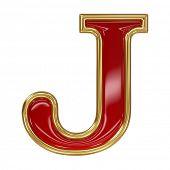 Ruby red with golden outline alphabet letter symbol - J poster