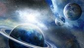 planet in outer space covered by fog illuminated distant star poster