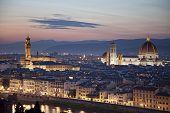 Florence cityscape with Duomo Santa Maria Del Fiore and Piazza Della Signoria from Piazzale Michelangelo Italy poster