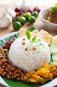 Nasi lemak traditional malaysian spicy rice dish poster