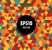 Abstract background made of triangles. Retro black label for design. Eps10 vector. poster