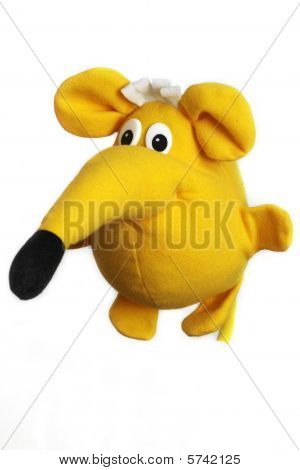 Yellow toy funny fat mouse over white background poster