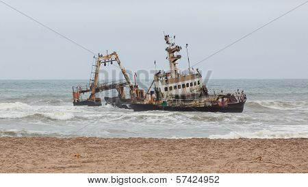 Zeila Shipwreck stranded on 25th August 2008 near Henties Bay on the Skeleton Coast in Namibia poster