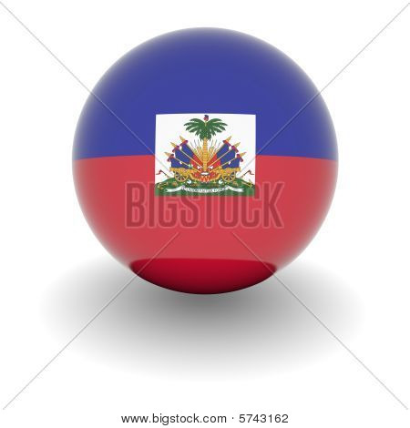High Resolution Ball With Flag Of Haiti