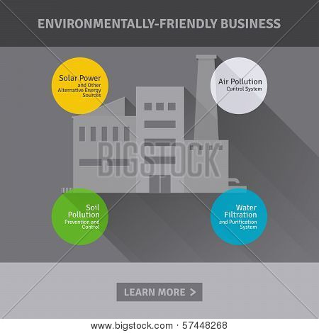 Concept Of Environmentally-friendly Industrial Factory. Vector Illustration