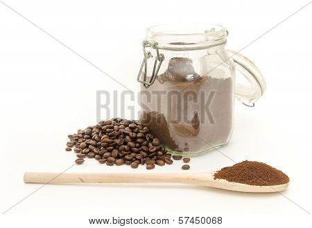 Coffee Beans And Grinded On White