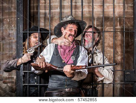 Prisoners Revolt in an Old West Jail poster