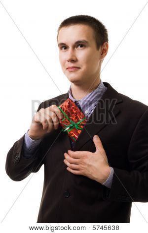 Young Man With A Red Present