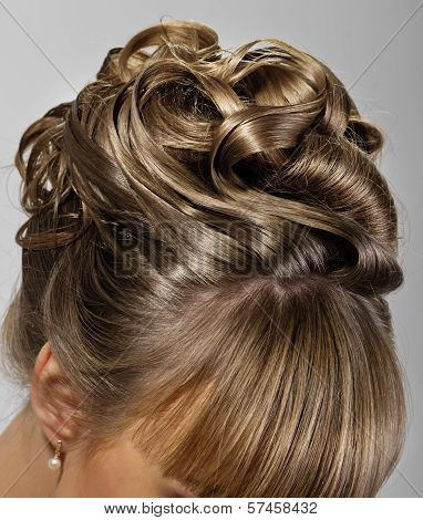coiffure of beauty bride on grey background poster