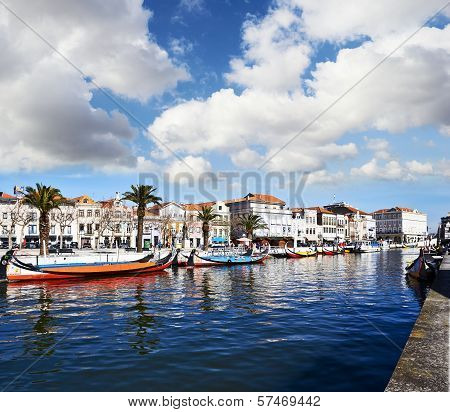 view from the canal of Aveiro Portugal poster