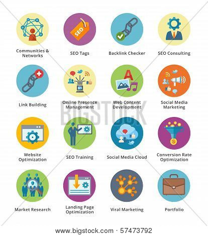 SEO & Internet Marketing Flat Icons Set 2 - Bubble Series