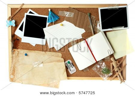 Cork board full of blank items for editing