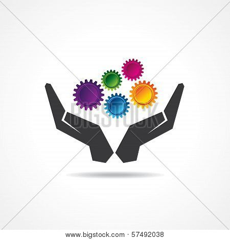 Colorful gears in hand