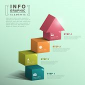 modern vector abstract cube stair with house infographic elements poster