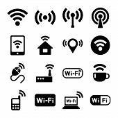 Wireless technology, Wi-Fi web icons set. Vector. poster
