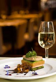 Gourmet Dish And White Wine.